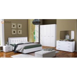 Спальня БЕЛЛА Шафа 4Дв без зеркала, приліжкова 2 шт, комод 3 шх, зеркало, ліжко 1.6х2,0 з м'ягкою спинкою без каркаса